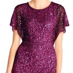 NWT Adrianna Papell Beaded Flutter Sleeve Dress